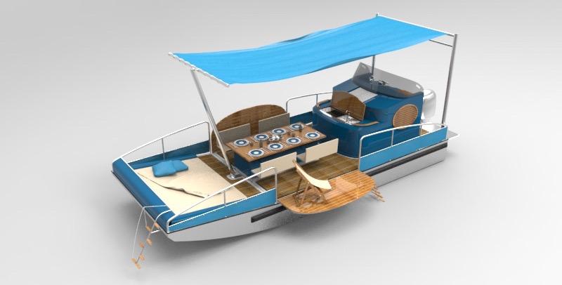 beacher r bateau plaisance representation 3d bleu
