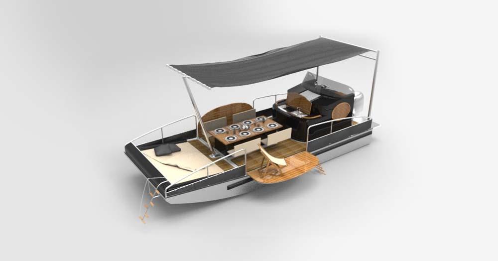 beacher r bateau plaisance representation 3d gris