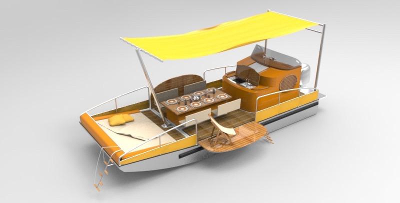 beacher r bateau plaisance representation 3d jaune