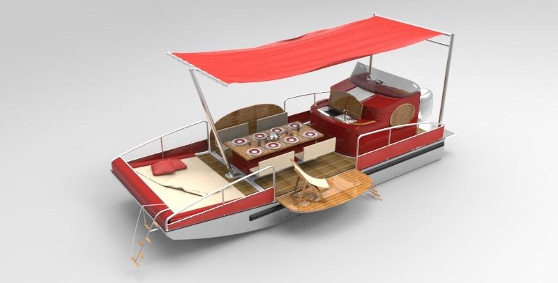beacher r bateau plaisance representation 3d rouge